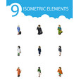 isometric human set of cleaner doctor pedagogue vector image vector image