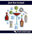 Jack rose cocktail infographic set isolated