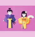 japanese couple in traditional clothing man vector image