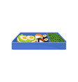 japanese food in blue lunch box on white vector image vector image