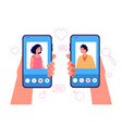 mobile dating concept romantic app man woman vector image vector image