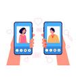 mobile dating concept romantic app man woman vector image