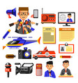 news broadcasting or press and media icons vector image