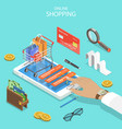 online shopping flat isometric concept vector image