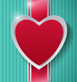 Paper Heart and Ribbon on Turquoise Background vector image
