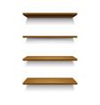 realistic 3d detailed wooden shelves set vector image vector image