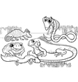 reptiles and amphibians coloring page vector image vector image