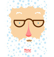 Santa Claus with white beard and blue snowflakes vector image vector image
