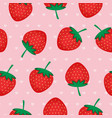 seamless background with red strawberries vector image