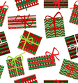 Seamless pattern with Christmas gift boxes vector image