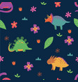 seamless pattern with dinosaurs in scandinavian vector image