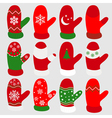 set christmas mittens vector image