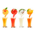 Set of fruit juice splash in a glass strawberry vector image