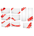 Set of gift card notes with red ribbons vector image