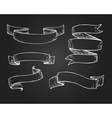 Set of hand drawn scrolled ribbons on vector image vector image