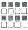 Set of hand drawn squares design elements Lines vector image vector image