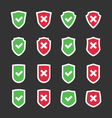 Set of shields with checkmark symbol flat vector image vector image