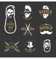 set vintage barber shop emblems label vector image