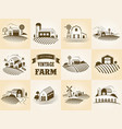 set vintage eco farm label landscapes vector image vector image