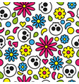 skull seamless pattern day of the dead cute floral vector image vector image