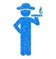 Smoking Gentleman Grainy Texture Icon vector image vector image