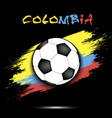 soccer ball and colombia flag vector image vector image