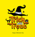 trick or treat message hat pumpkin cat bat vector image