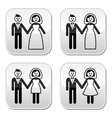 Wedding married couple bride and groom buttons set vector image vector image