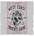 west coast bikers gang poster vector image vector image
