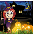 Witch girl near the haunted house vector image vector image
