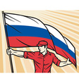 Worker Holding a Russian Flag vector image vector image