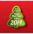 Merry Christmas green tree greeting card 2014 vector image