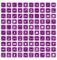 100 development icons set grunge purple vector image vector image