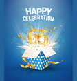 65 th years anniversary and open gift box with vector image vector image