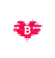 bitcoin in cloud in the shape of a heart with vector image vector image