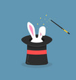 black magic hat with bunny ears vector image