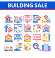 building house sale thin line icons set vector image