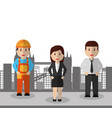 business people and man construction workers city vector image