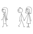 cartoon couple man and woman or boy and vector image