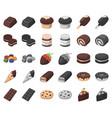 chocolate dessert cartoonmonochrom icons in set vector image vector image