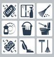 cleaning icons set soap window cleaner duster vector image