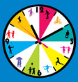 clock face with children silhouettes vector image vector image