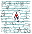 contour marine icons and inscription hand i vector image vector image