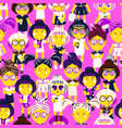 cute fashion girls cartoon seamless pattern vector image