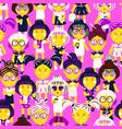 cute fashion girls cartoon seamless pattern vector image vector image