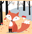 cute fox in the spring forest vector image vector image