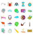 detect time icons set cartoon style vector image vector image