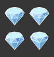 diamond crystal icons set on dark background vector image vector image