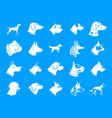 dog icon blue set vector image