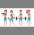 fitness girl different poses doing vector image